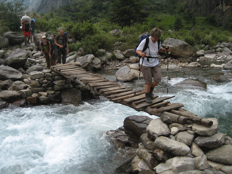 Manaslu Trek wooden bridge