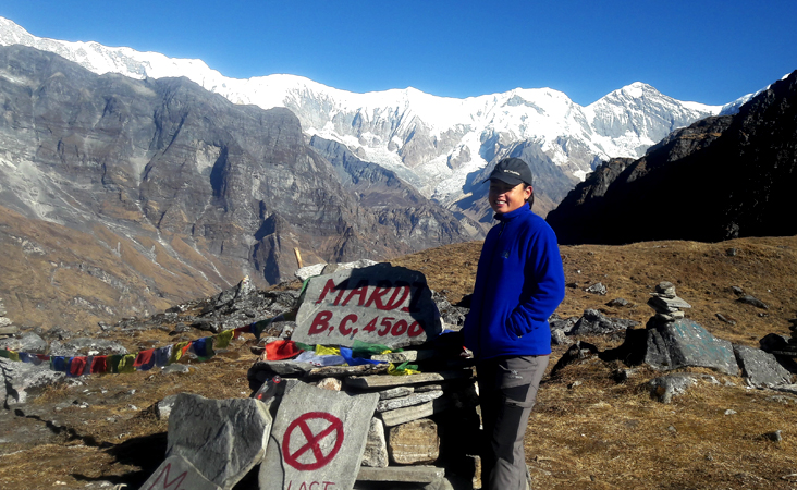 Mardi base camp, singu chuli peak view