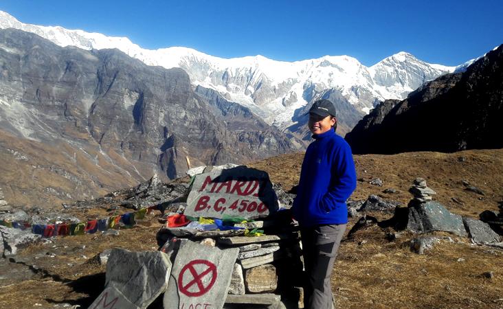 Mardi base camp, singu chuli peak view