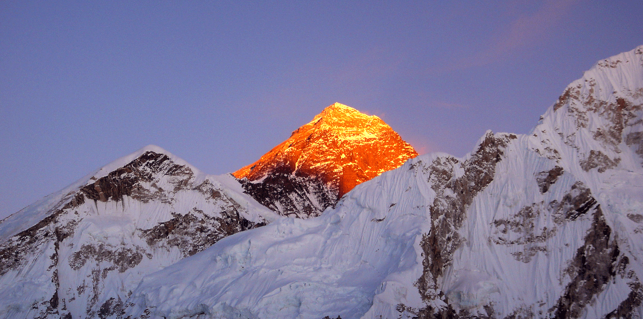 top of the everest, sunset view.
