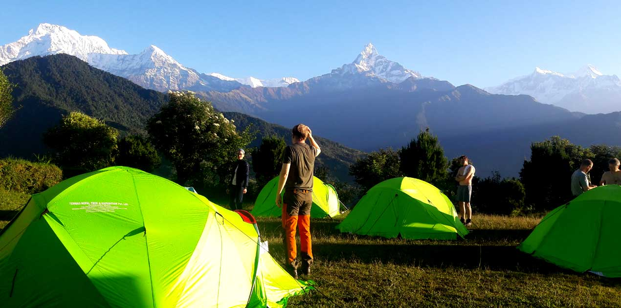 The Dhampus Australian camp has one of the most magnificent Annapurna Himalayan mountain views